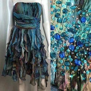 Cache Chiffon Rhinestone Ruffled Flutter Dress